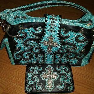 Handbags - Western Satchel Handbag and Wallet Bundle